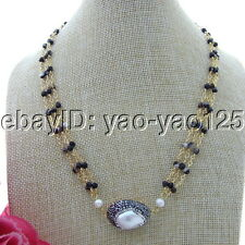 "S110307 19"" 3 Strands White Keshi Pearl Black Agate Necklace"