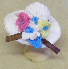 1:12 Scale Ladies White Crochet Hat Dolls House Miniature Clothing Accessory T7