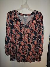 Woman's Dressbarn blue/pink/cream/brown paisley 3/4 ruched sleeves knit shirt 1X