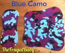Fleece Reusable Shaped Nappy Liners New x5 Various Designs Blue Camo