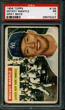 1956 Topps MICKEY MANTLE GRAY BACK #135 ... GRADED PSA 1