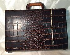 RARE Vintage Upjohn Alligator Medical Briefcase Attache Cheney England Lock KEY