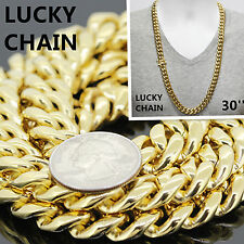 """30""""STAINLESS STEEL GOLD HEAVY MIAMI CUBAN LINK CHAIN NECKLACE 13mm 280g RO8"""
