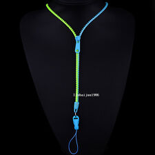 NEW Free shipping zipper necklace Employee's card/key hang rope sky blue+green