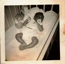 Antique Vintage Photograph Adlorable African American Baby Sleeping In Crib