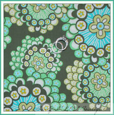 BonEful Fabric FQ Cotton Amy Butler Rowan Daisy Chain Lg Flower Brown Blue Green