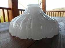 """Vintage 8 1/4""""W Glass Lamp Light Shade Torchiere Clam Broth Ribbed Scalloped"""