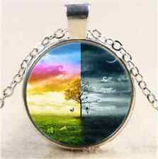 Day and Night Tree Cabochon Glass Tibet Silver Chain Pendant Necklace