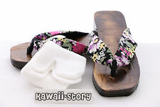 K-G-07 Geta black Japanese Wood Sandal Socks for Kimono Yukata (9 3/5in/Size 38)