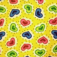 Yellow Polycotton Green Blue Pink Spotted Hearts Fabric
