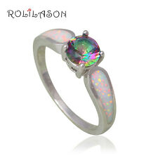 OR783#9 Love Gifts Silver Stamped Jewelry White Fire Opal Mystic Topaz  Rings