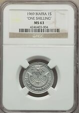 "1969 Biafra Nigeria Republic ""One"" Shilling NGC MS 63, KM # 2, Very Rare Type"