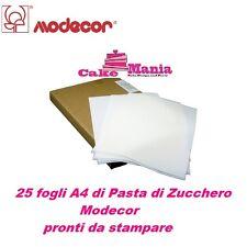 25 FOGLI DI PASTA DI ZUCCHERO DA STAMPARE MODECOR A4 OSTIA X TORTE BIANCHI CAKE