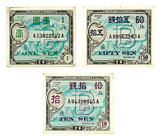 Set of 3 diff. Japan WW2 allied military currency nice circ. f+