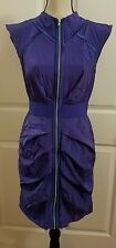 BEBE Silk BLUE RUCHED COLLARED DRESS W/ FRONT SILVER ZIPPER SIZE