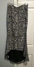 Winter Kate silk skirt black white paisley floral