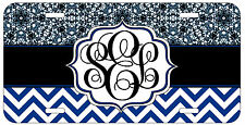 Personalized Monogrammed Chevron Lace Blue License Plate Custom Car Tag L419