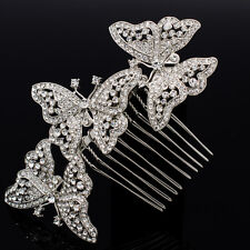 Dossy 3 Butterfly Hair Comb Rhinestone Crystal Women Wedding Party Jewelry 1469R