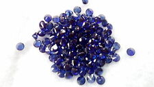 3 mm Round Cut Dark blue Lab Created Sapphire Loose Gemstone. Lot of 10 stones.