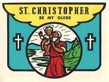 """""""St. Christopher  Be My Guide""""   Vintage-Looking  1960's  Travel Decal/Sticker"""
