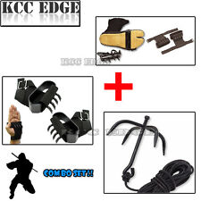 NINJA CLIMBING COMBO Grappling Hook + Hand & Foot Spike Tree Wall Claws Spikes
