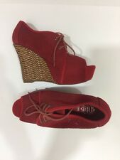 New Jeffrey Campbell Mesh Peep Toe Ankle Boots Red, Size 8
