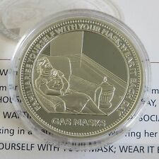 MEMORIES OF WARTIME BRITAIN 38mm HM SILVER PROOF MEDAL - GAS MASKS - coa