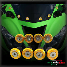 Strada 7 Racing CNC Windscreen Bolts M5 Wellnuts Set Yamaha FZ1 FAZER Gold