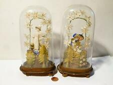 Pair Antique 19thC Ladies French WAX Figures & SILK Flowers Under Glass Dome