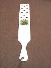 "24"" Homemade Enforcer White Lexan Novelty Paddle w/ Holes & Leather Hang Strap"