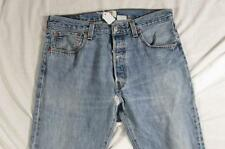 Levi 501 Button Fly Straight Leg Faded Denim Jeans Tag 34x34 Measure 34x34