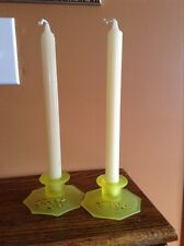 Vintage bright yellow satin painted Depression vaseline glass candle holders