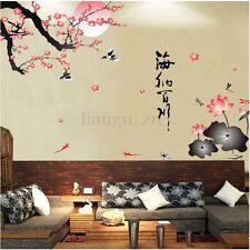 Stickers Mural Fleur Prunier Arbre Branche Muraux Décor Autocollant Mur Chambre