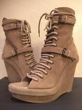 $1,500+ ANN DEMEULEMEESTER Lace Up Ankle Strappy Wedge Sandal Open Toe Boots 41