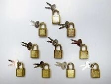 (10) Small Metal Padlock Mini Brass Color Tiny Box Locks With keys NEW