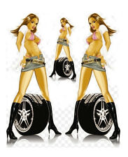 PIMP MY RIDE SEXY WHEEL GIRL Mini Skirt 3 STICKER/DECAL SET Art by Lethal Threat