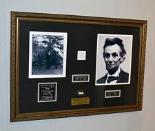 """ABRAHAM LINCOLN Signed in his hand """"SOLE"""" Frame, UACC COA, Real Abe HAIR & WOOD"""
