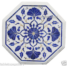 "12"" White Marble Side Corner Table Top Lapis Inlaid Marquetry Garden Decor H2326"