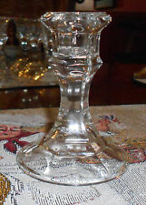 "One, Clear Glass Candlestick, Tapered Candle Holder 4 1/4"" Tall"