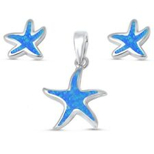 Blue Opal Star Fish Earrings & Pendant Set .925 Sterling Silver Earrings