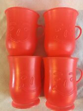 Vintage 80's Kool Aid Man Cups Mugs Red Smiley Face Set Of 4 Advertising Cool