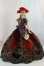 Gorgeous Princess Party Dress/Clothes Wedding Gown+hat For Barbie Doll N08U