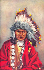 """Raphael Tuck """"Indian Chiefs"""" Chief Red Owl Series I Postcard"""
