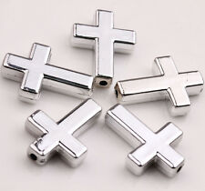 Lots 10Pcs Silver Acrylic Cross Charms Spacer Beads Pendants Jewelry 24x18x5mm