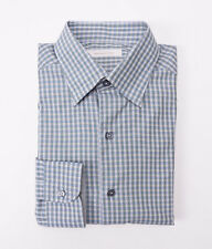 NWT $345 ERMENEGILDO ZEGNA Blue-Green Check Button-Front Shirt M Modern-Fit