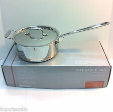 All Clad Copper Core 3 Quart Sauce Pan with Lid & Loop Handle (6203 SS) -NEW