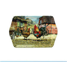 Cockerel Hen Farm Scene Small Melamine Snack Crumb Tray Macneil Studio