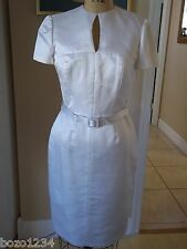 BN AGOSTINO 100% SILK WHITE SZ 6 DRESS KEYHOLE 2nd TIME BRIDE WEDDING RET $2800
