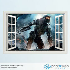 Halo Master Chief 3D Window View Decal Wall Sticker Home Decor Mural Kids
