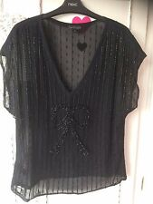 Next signature ladies fully beaded lace effect black top  sz 14 new